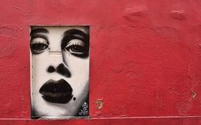 Разное: стена, граффити, лицо, девушка, трещины