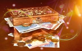 Разное: деньги, евро, монета, монеты, банкнота, банкноты, купюра, купюры, валюта, шкатулка