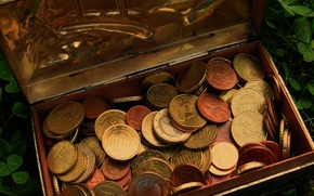 Разное: деньги, евро, монета, монеты, валюта, шкатулка