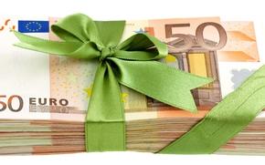 Разное: деньги, евро, банкноты, банкнота, купюра, пачка, валюта, бантик