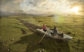 Рендеринг: прикол, юмор, лодка, вёсла, мужчина, женщина, пара, романтика, поле, трава, солнце
