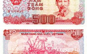 Разное: деньги, донг, банкнота, купюра, Вьетнам, Хо Ши Мин, герб, крабль, порт, транспорт, 1988, 500