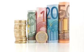Разное: деньги, евро банкнота, купюра, монета, монеты