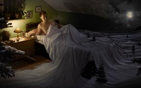 Рендеринг: прикол, юмор, кровать, сон, ночь, луна, зима, снег, ёлка, лампа, мужик, человек, мужчина
