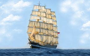 Корабли: корабль, бак, парусное судно, парусник, барк, Крузенштерн, нос, Россия, море, флаг, паруса, небо