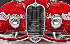 Машины: Alfa Romeo, красный, фары, решётка