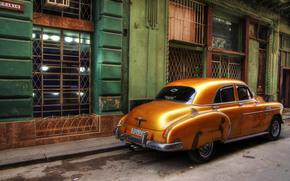 Город: автомобиль, Шевроле, ретро, улица, дома, окна, Куба, Гавана