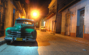 Город: старый, автомобиль, ретро, машина, Куба, Гавана, улица, ночь