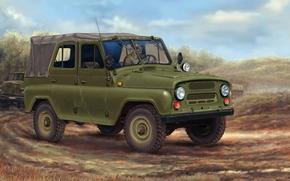 Машины: УАЗ-469, УАЗ, Пёсик, советский, армейский, внедорожник, автомобиль, машина, колонна, рисунок, СССР, Россия