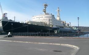 Корабли: корабль, ледокол, Ленин, СССР, Россия, причал, набережная, берег, фонарь, асфальт