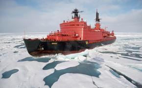Корабли: корабль, ледокол, Ямал, Россия, лёд, океан