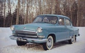 Машины: автомобиль, авто, машина, СССР, ГАЗ-21, ГАЗ, 21, Волга, зима, снег, деревья