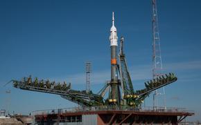 Космос: Союз, TMA-16M, космодром, Байконур, Казахстан, Россия, космический, корабль, ракета, небо