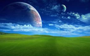Рендеринг: поле, небо, облака, планеты