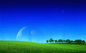 Рендеринг: поле, небо, деревья, планеты