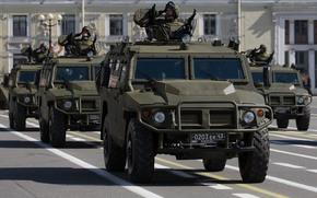 Оружие: ГАЗ, 2330, Тигр, Россия, российский, многоцелевой, автомобиль, повышенной, проходимости, бронеавтомобиль, солдат, армия, оружие, машина