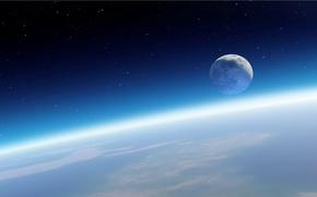 Космос: Земля, Луна, атмосфера, звёзды, горизонт