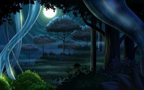 Рендеринг: Луна, полнолуние, ночь, лес, деревья, стволы, кусты, листья, трава, дымка, светлячки