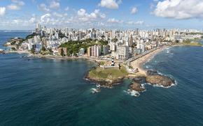 Город: Бразилия, Баия, Сальвадор, Фарол да-Барра, маяк, Барра, пляж, море