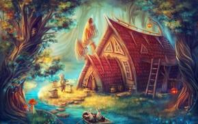 Фантастика: сказочный дом, речка, лодка, мишка, зайцы, фэнтези