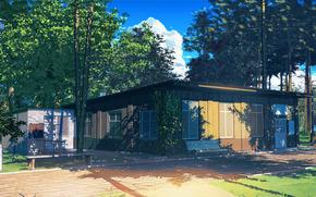 Рендеринг: Бесконечное лето, Обои, Библиотека, пионерский лагерь, СССР