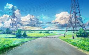Рендеринг: Бесконечное лето, Обои, Дорога, высоковольтка, лето, поле, облока, небо, СССР