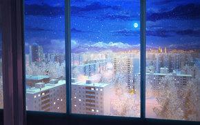 Рендеринг: Бесконечное лето, Обои, Квартира, ночь, Луна, звёзды, окно, небо, СССР, Россия