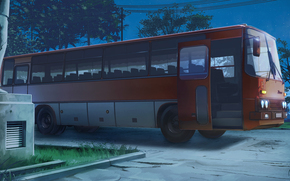 Рендеринг: Бесконечное лето, обои, ночь, стоянка, автобус, Икарус, 255, СССР, Россия