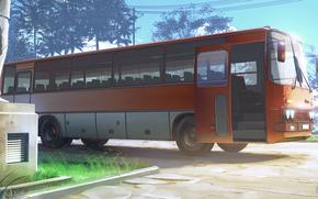 Рендеринг: Бесконечное лето, обои, сумерки, стоянка, автобус, Икарус, 255, СССР, Россия