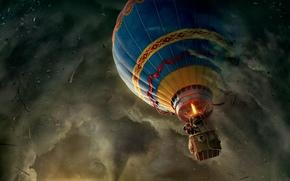 Разное: воздушный, шар, смерч, приключения, человек, цилиндр
