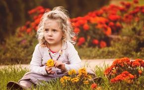 Настроения: девочка, цветы, настроение