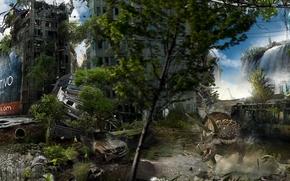 Рендеринг: город, Берлин, улица, телебашня, дома, животные, динозавр, динозавры, деревья, небо, облока, трава, заросли, фантастика, машина, джип, автобус