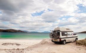 Пейзажи: пейзаж, утро, природа, море, волны, свет, сопки, горы, облака, лето, песок, вода, автодом, дом, на, колесах, семья, кемпинг, багажник, автомобиль, авто, машина, велосипеды, турист, отдых, позитив, путешествие