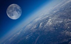 Пейзажи: планета, Земля, Луна, спутник, небо, облока, горизонт, горы, космос, Мир