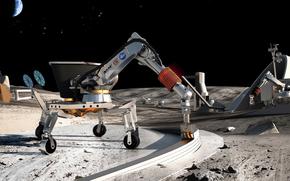 Космос: Луна, космос, проект, НАСА, робот, Земля, стройка, база, станция, камни, грунт