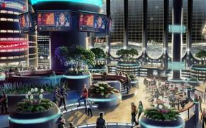 Рендеринг: Луна, спутник, база, станция, помещение, интерьер, люди, будущее, растения, город