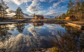 Пейзажи: Ringerike, Norway, Рингерике, Норвегия, озеро, отражение, дома, облака, деревья
