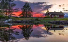Пейзажи: Ringerike, Norway, Рингерике, Норвегия, озеро, закат, дом, отражение, лодка, деревья