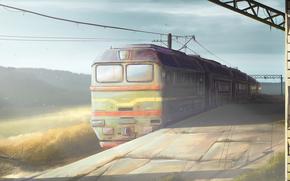 Рендеринг: поезд, железная, дорога, тепловоз, заброшенная, станция, утро