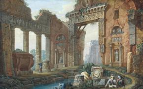 Разное: Клериссо, Шарль-Луи, Архитектурная фантазия, картина, Эрмитаж, архитектура, колонны, статуи, ворота, люди