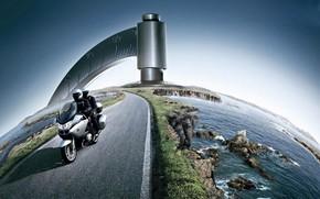 Разное: мотоцикл, дорога, глобус, вода, камни, фотомонтаж