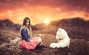 Настроения: девушка, плюшевый мишка, медведь, игрушка, закат, настроение, боке