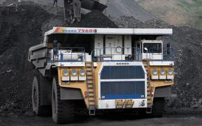 Машины: БЕЛАЗ, 75600, самосвал, машина, карьер, ковш, руда, порода, уголь, добыча, полезные, ископаемые, недра
