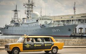 Корабли: корабль, ВМФ, России, ССВ-175, Виктор Леонов, гавань, Куба, Жигули, ВАЗ, Лада