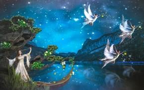 Фантастика: angels, ночь, фея, ангелы, фантастика