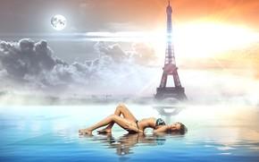 Рендеринг: Paris, Eiffel tower, закат, девушка