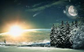 Разное: Луна, звезды, ночь, фантастика, лес, зима, снег, ель, ели, дома, деревня, деревья, солнце, небо