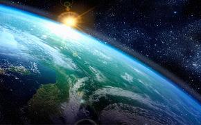 Космос: космос, планета, Земля, солнце, звёзды, горизонт