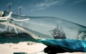 Разное: бутылка, море, песок, корабль, остров, птицы, чайки