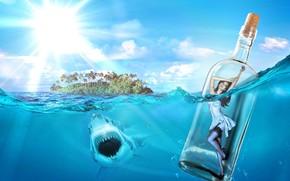 Рендеринг: море, акула, остров, девушка в бутылке